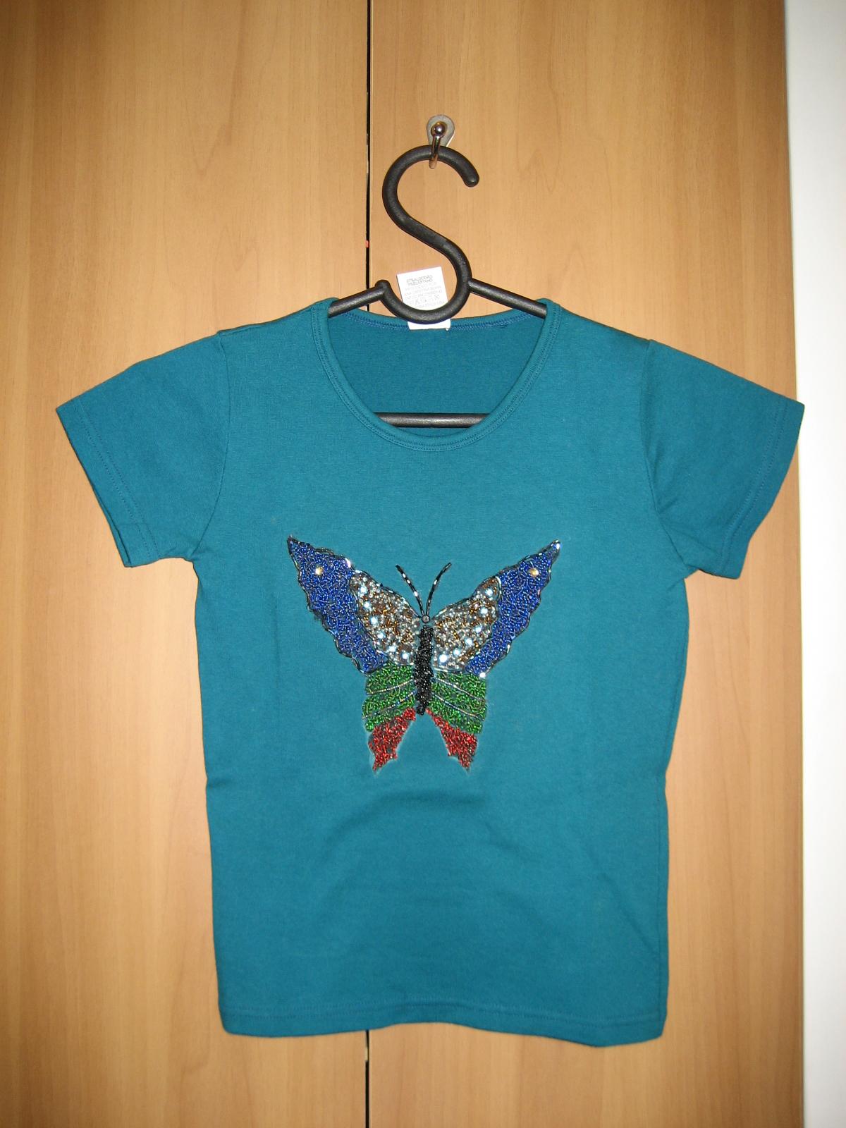 Camiseta Verde   Borboleta De Pedrarias