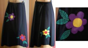 Já a saiona preta fica bem menos séria com a aplicação de flores de feltro, com linha de pesponto. Na frente, duas; atrás, uma. Se quiser, borde uma só, bem grande, numa das laterais. A mesma idéia pode ser aproveitada para uma saia jeans, mas não com feltro.